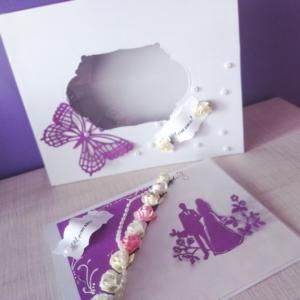 Слатбена картичка в бяло и лилаво
