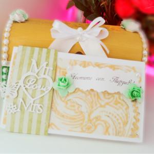 Картичка за сватба в жълто и зелено