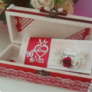 Луксозна сватбена картичка в бордо